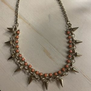 Coral, studded necklace